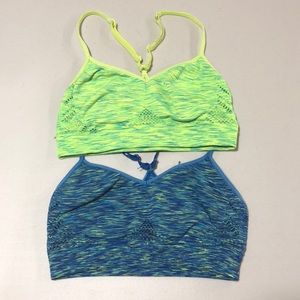 Pink Sports Bras neon green and blue